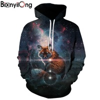 BIANYILONG New 2018 Fashion Men Women 3d Sweatshirts Print Stars And Foxes Hoodies Autumn Winter Thin