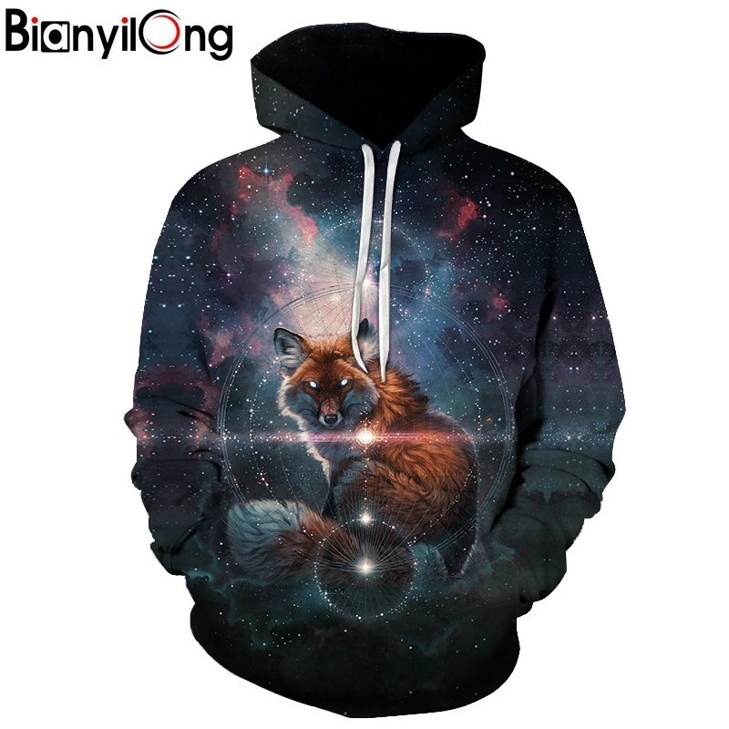 BIANYILONG New 2018 Fashion Men/Women 3d Sweatshirts Print Stars and foxes Hoodies Autumn Winter Thin Hooded Pullovers Tops