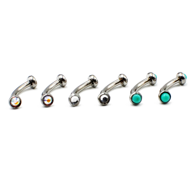 1PC Surgical Steel Internally Thread Eyebrow Ring Cartilage Tragus Earring Flat CZ Gem Stone Body Jewelry Piercing 16g 2