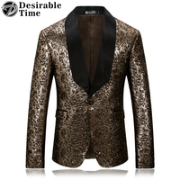 Desirable Time Brand Mens Gold Floral Blazer Slim Fit Black Lapel Party Sport Coat And Stage