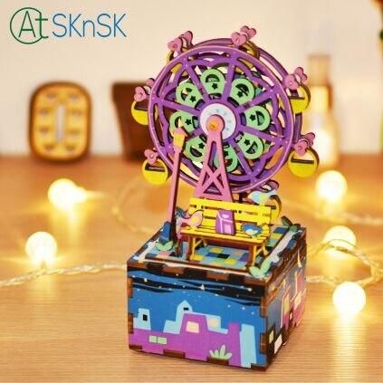 1 pcs/lot mode 3D en bois peint puzzle fait à la main bricolage créatif carrousel boîte à musique basse boîtes grande roue ornements
