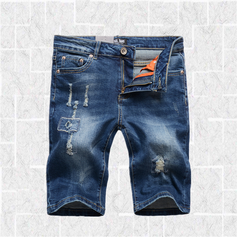 Casual Patchwork Shorts Elastic Jeans Men Brand Clothing Mid Blue Men`s Stretch Jeans Knee Length Ripped Shorts 1002-1