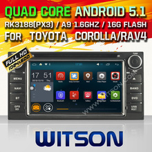 WITSON Android 5.1 CAR DVD GPS for TOYOTA RAV4/COROLLA/HILUX Capctive Screen Quad-care android dvd car audio built in wifi