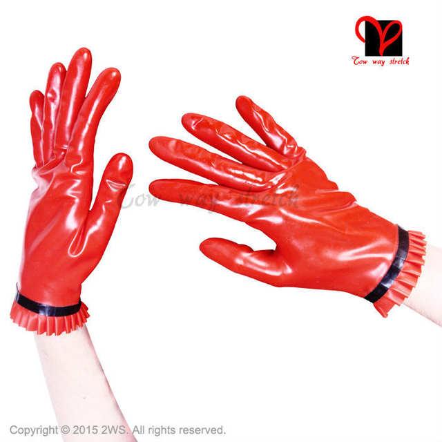 Online Shop Sexy Red Latex Ruffles Gloves Trims Short Wrist Five