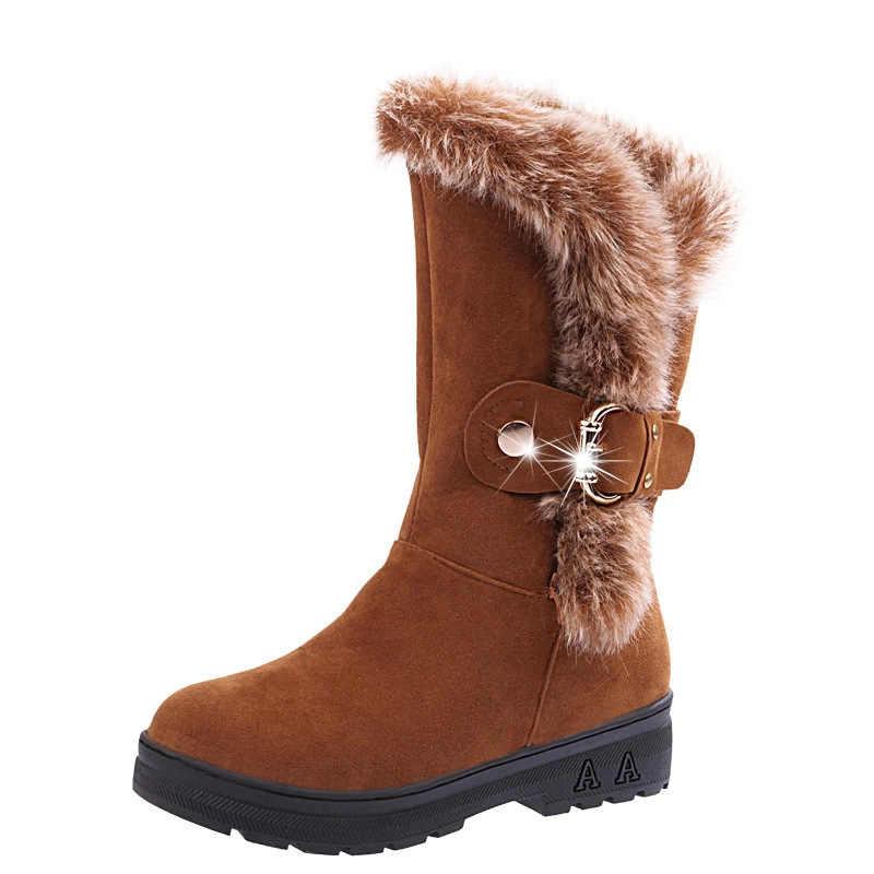 Bayanlar sıcak pamuk peluş yastıklı çizmeler büyük boy 36-41 kadın kış Zip akın ayak bileği toka yapay tavşan kürk botları ayakkabı