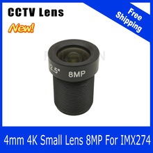 (4K Lens) 8Megapixel Fixed M12 Small Lens 1/2.5 inch 4mm 100 Degree For SONY IMX274 4K IP CCTV camera Free Shipping