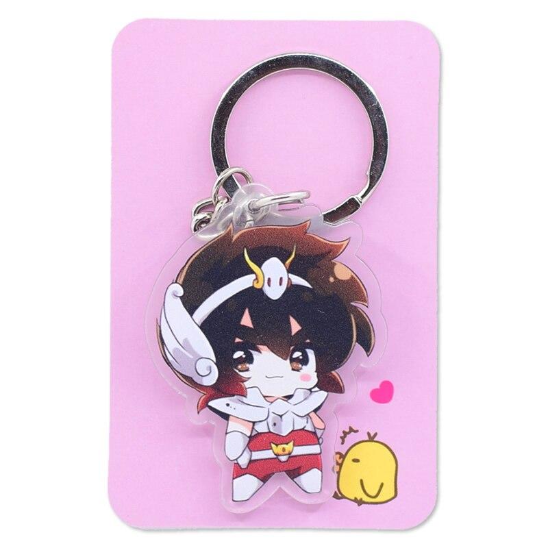 Image 2 - Saint Seiya Keychain Double Sided Cartoon Keyrings Cute Anime Acrylic Pendant Accessories PCB248 253Key Chains   -