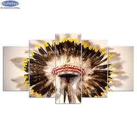 diy,Diamond Embroidery,Indian,hat,feathers,5D,Diamond Painting 5pcs,Cross Stitch,3D,Diamond Mosaic,Decoration,gift,Still life