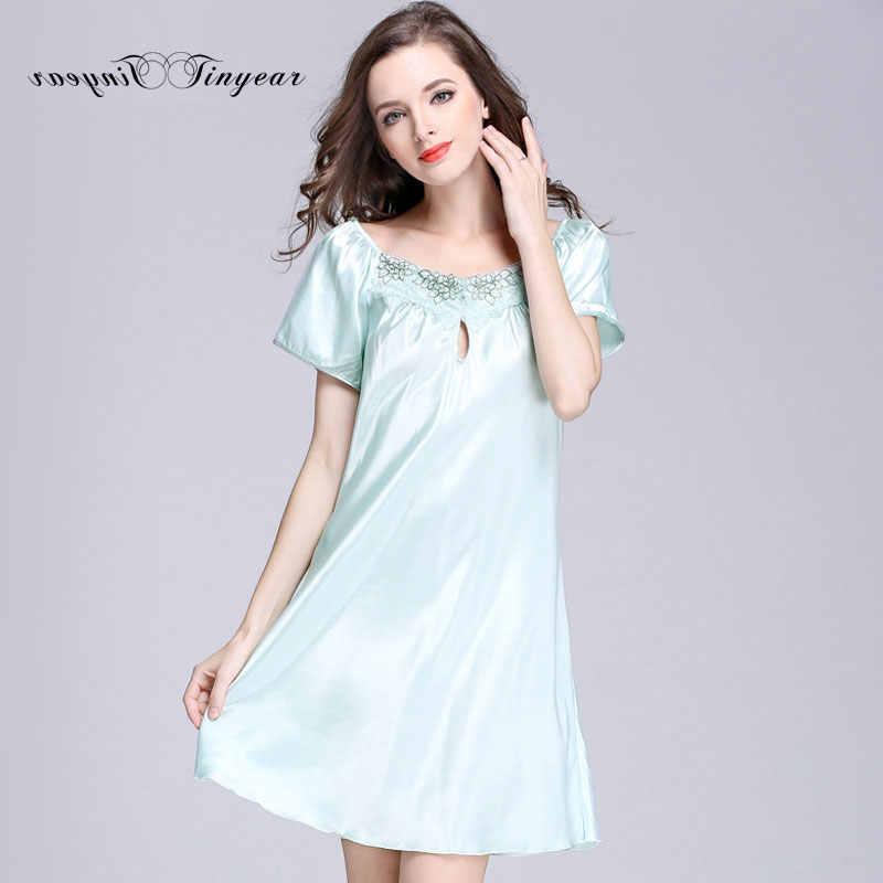 Tinyear большой размеры M-4XL короткий рукав атласная ночная рубашка  выдалбливают кружево пикантные шелковые ночные 56dc6968451ec
