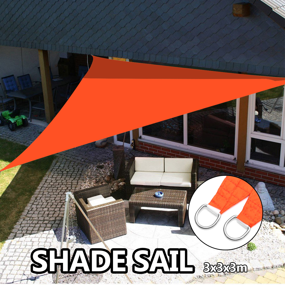 Triangle 3x3m Waterproof Orange Shade Sails Screen Nets Spin Square Sails Outdoor Shade Oxford Cloth Wind <font><b>Shading</b></font>