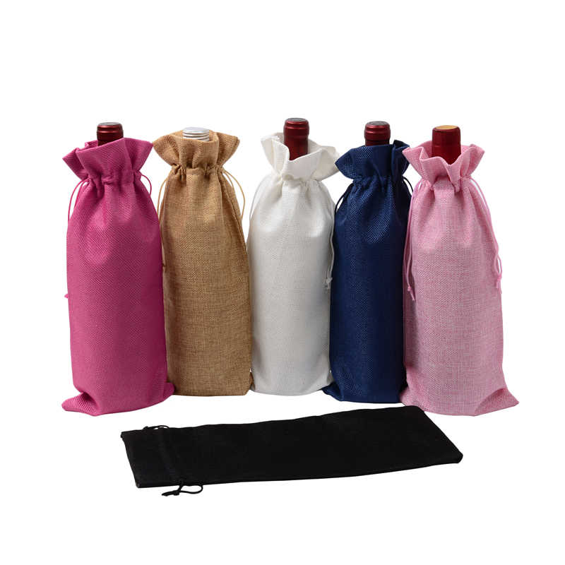 1 Pc 15 35cm Rustic Jute Burlap Wine Bags Drawstring Bottle Covers Reusable Wrap Gift Package