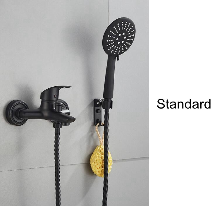 Bath Shower Faucet with Sliding Bar Bath Shower Set Bathtub Faucet Black Hot and Cold Water Mixer with Soap Basket MLB501B-in Shower Faucets from Home Improvement    3