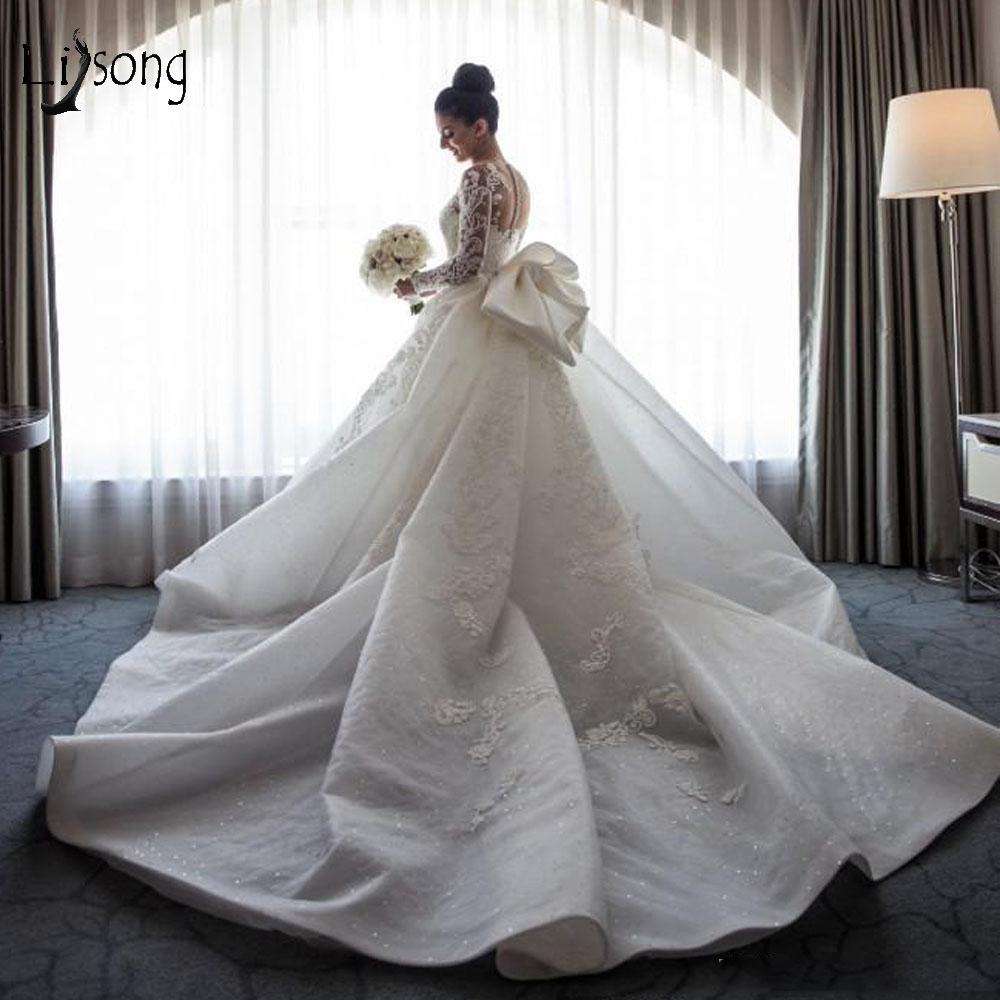 Luxury Muslim Lace 2 Pieces Mermaid Wedding Dresses With Detachable Train Full Sleeves Big Bow Beaded