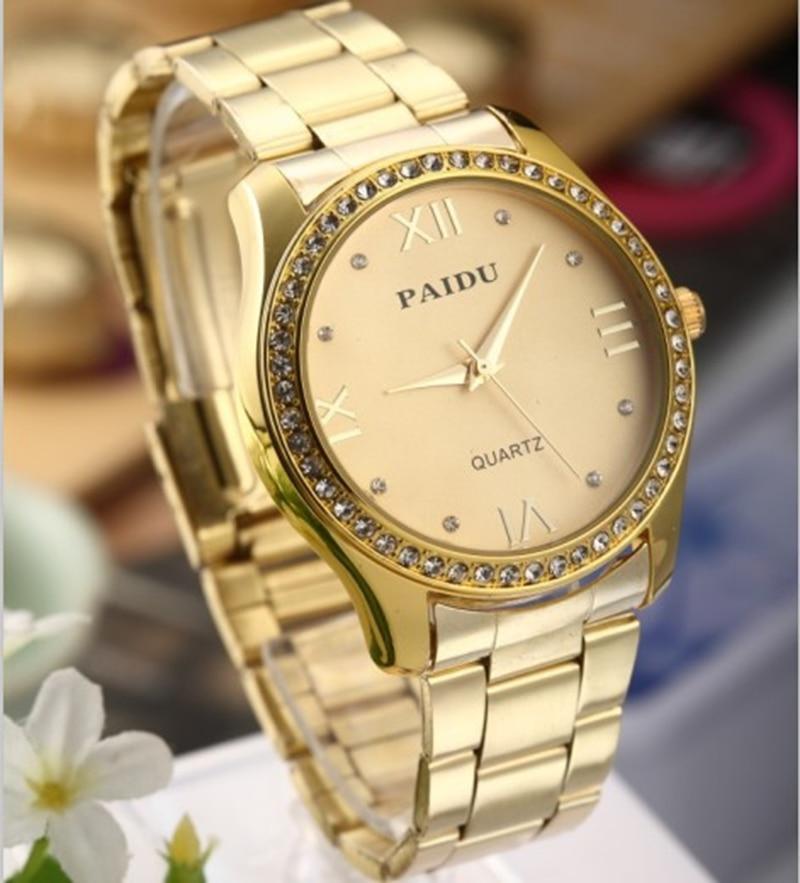 popular gold and silver watches men buy cheap gold and silver 2017 paidu brand gold silver steel strip fashion wrist watch rhinestone men and women dress