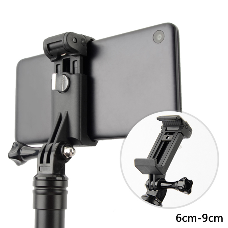 Mobile Phone Clip Holder Mount For GoPro Selfie Stick Monopod For IPhone Xiaom Samsung Huawei OPPO Tripod Adapter Accessories
