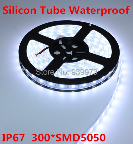 5m 300LED RGB/white/warm white/blue/red/Green/yellow, IP67silicon tube waterproof 12V 5050 LED Strip,60LED/m + free shipping