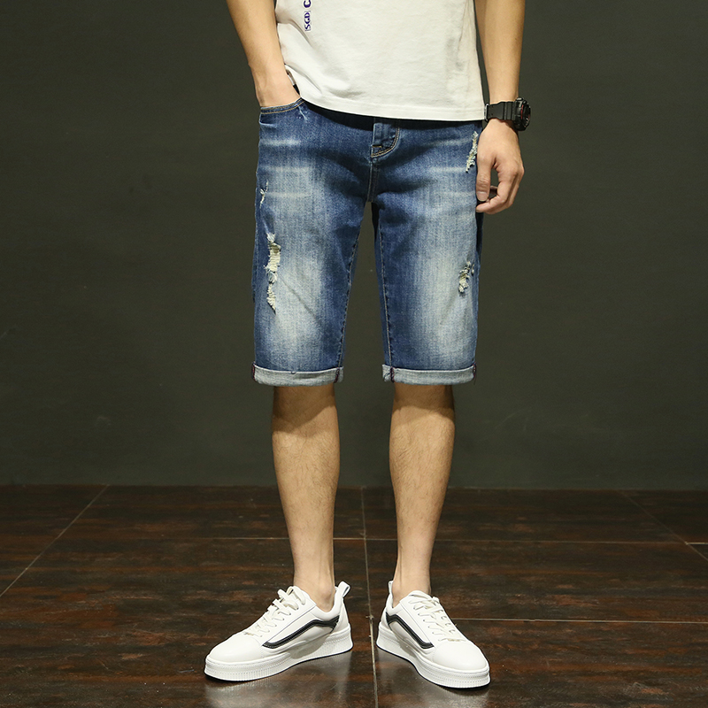 Great Quality 2018 Summer Casual Beach Jeans Mens Denim Pants Half Length Elasticity Distressed Hole Skinny Jeans Men 604