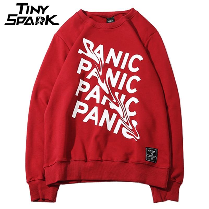 Men Plain Sweatshirts Streetwear Panic Letter Print Hip Hop Pullover Sweatshirt Hoodie Cotton New 2018 Autumn Sweatshirt No Hood