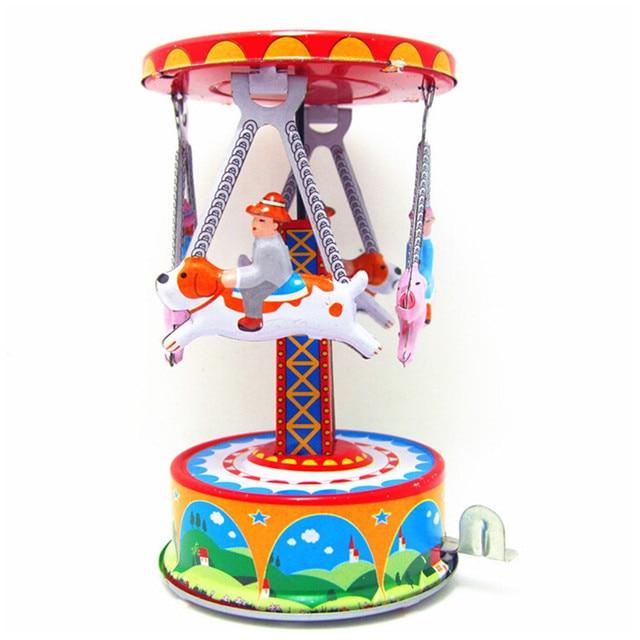 Trojan Rotation Model Tin Wind Up Toys for Children's Christmas Gift, Handmade Retro Clockwork Toys