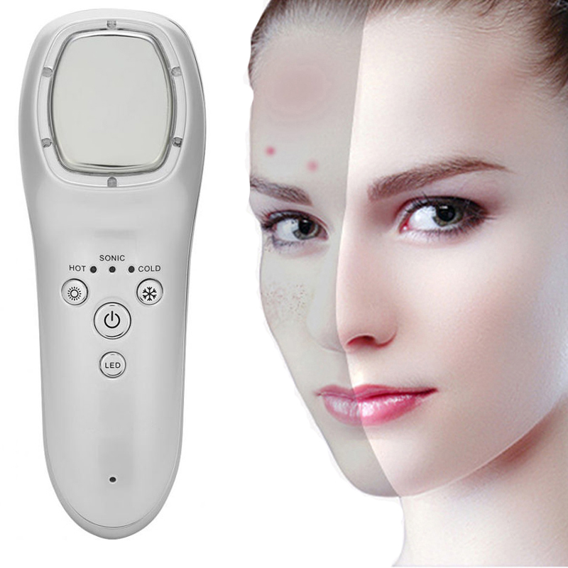 Ultrasonic Face Hot Cold Hammer Firming Pore Shrink Skin Rejuvenation Facial Massager LED