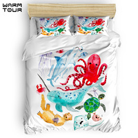 WARMTOUR Duvet Cover Ocean Creatures Sea Animals Characters Watercolor Duvet Cover Set 4 Piece Bedding Set For Beds