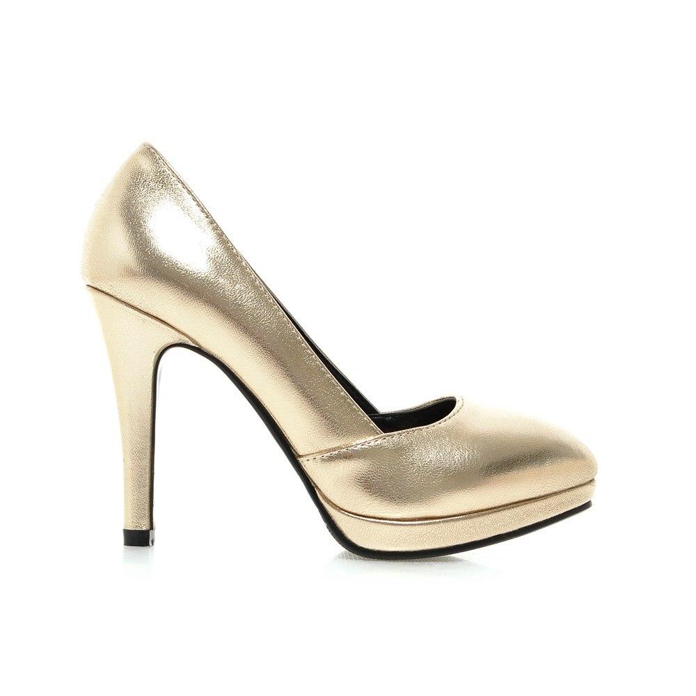 2016 Brand New Sexy Sales Women Platform <font><b>Nude</b></font> Pumps Gold Silver Ladies Glossy Dress Shoes EH23 Spike Heels Plus Big <font><b>Size</b></font> 43 <font><b>10</b></font>