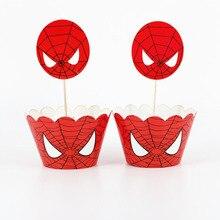 24 шт., обертки для пирожных с изображением Человека-паука, капкейка, топперы для малышей, декоративные принадлежности для дня рождения