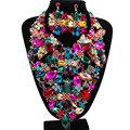 Lan palace boutiquei big jewelry sets hot sale for party wedding enamel jewelry Austrian crystal necklace and earrings