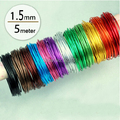 1.5mm 14 gauge anodized aluminum craft wire multi optional mixed colors 5m/pc roll for jewelry findings DIY decoration