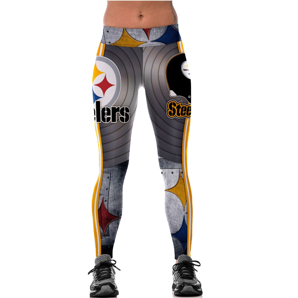Unisex Pittsburgh Steelers Logo Fitness Leggings Elastic Fiber Hiphop Party Cheerleader Rooter Workout Pants Trousers Dropship