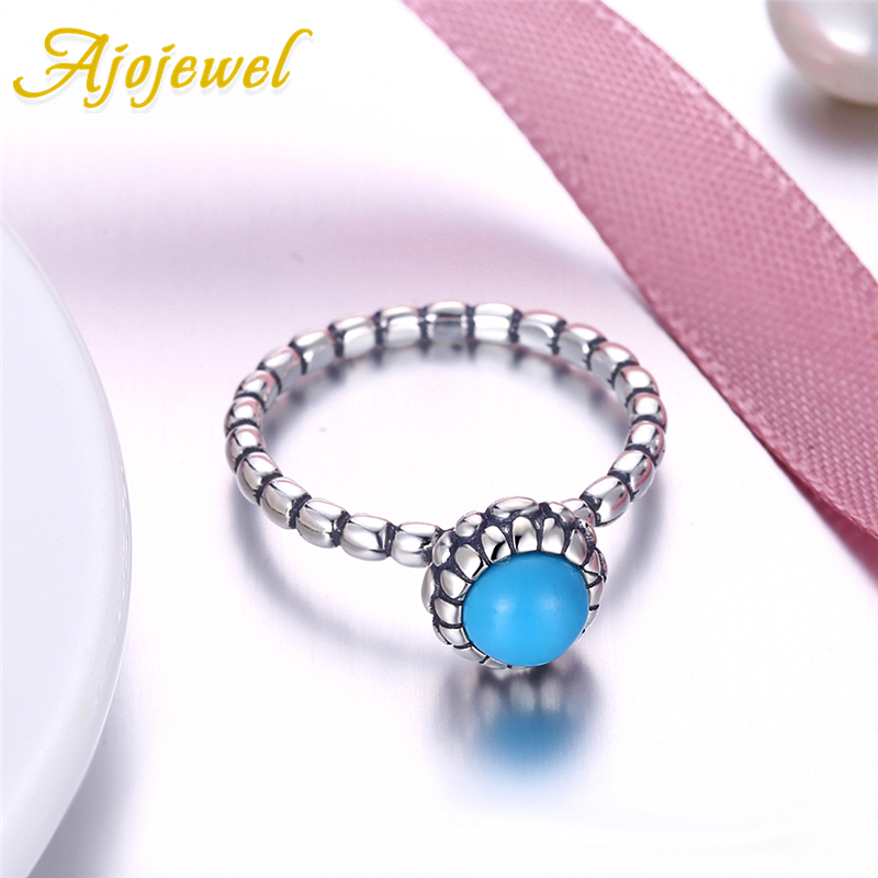 Ajojewel Blue Cameo Stone Engagement Ring Round Natural Stone Pure 925 Sterling Silver Spiral Comfortable Rings For Girl Gift