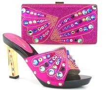 FUCHSIANew ankunft fashion11cm peep toe talian schuhe mit passenden taschen set neue mode steine blume Afrikanische schuhe und tasche sets