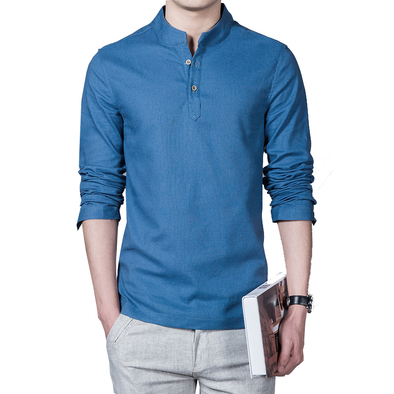 Linen long sleeve casual mens shirts  5