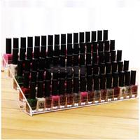 5 Tiers Clear Acrylic Nail Polish Varnish Display Stand Table Top Lipstick Organizer Shop Counter Retail Rack Holds 65 Bottles