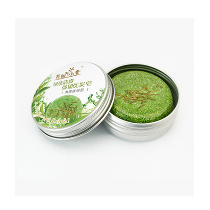 Green Tea Essential Oil Green Shampoo Without Industrial Flavor, Soap 100% Pure Plant, Mild Scalp Protection 70g