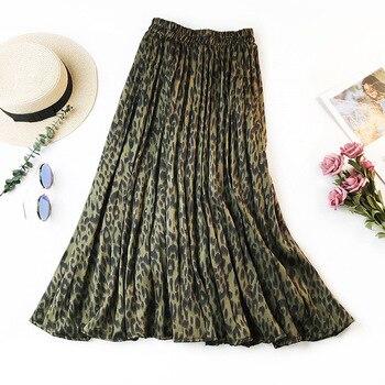 Leopard Print Pleated Skirts Women Spring Summer Midi Long Korean Elegant High Waist A-line Sun Skirt Female Skirts