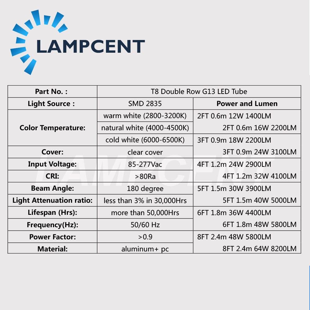 T8 LED Tube ampoule 2ft 3ft 4ft 5ft 6ft Double rangée G13 bi-pin lampe LED lumières de magasin 15/20/25/30 Pack - 3