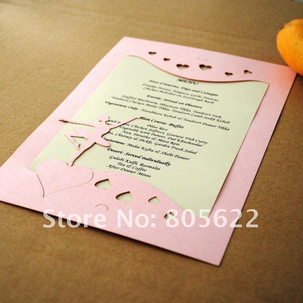 Wedding Invitations Heart Scroll Design A7 Size 2 Per Page