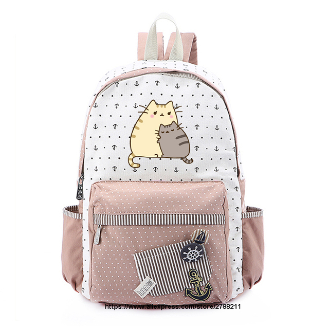 ac271bf268 Fat cat Canvas bag unicorn Rucksacks backpack for teenagers Girls women  School travel Shoulder Bag