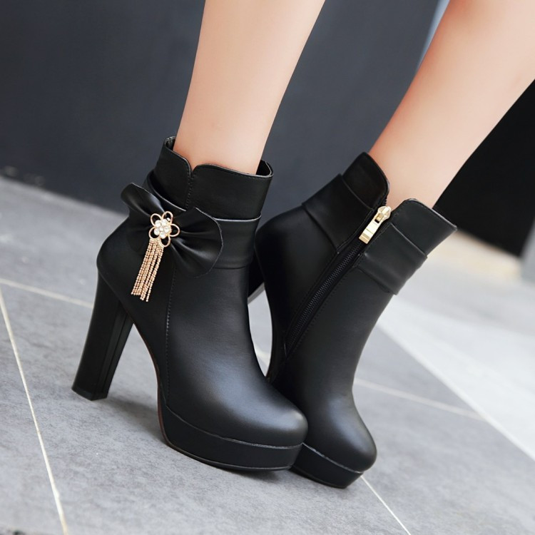 20_2016 Autumn Korean Womens Pink Dress Booties Shoes Princess Bow High Heels Black And White Platform Ankle Boots For Winter