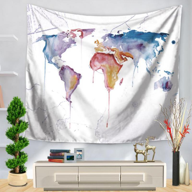 Wholesale Customized Color Painting Map Wall Hanging Polyester Tapestry Home Decor Yoga Mat Bedding Blanket