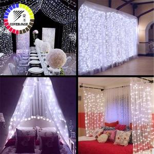 Image 4 - Coversage Weihnachten Led leuchten Vorhang Garland 3X3M LED String Fairy Dekorative Outdoor Indoor Hause Hochzeit Dekoration Net Licht