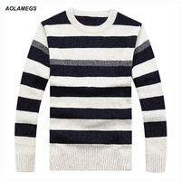 Aolamegs Striped Sweater Men Fashion Casual Autumn Winter Men S Sweater Pluuovers Male 2016 Knitting Sweter