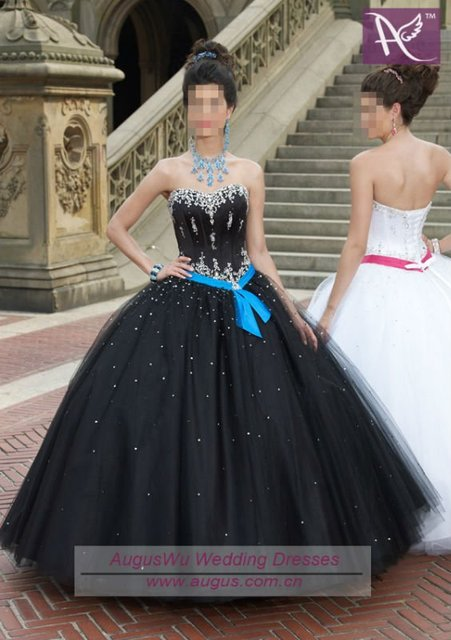 AQM-023 Hot Sale Sweetheart Neckline Beaded Tulle Black Quinceanera Dresses  custom made