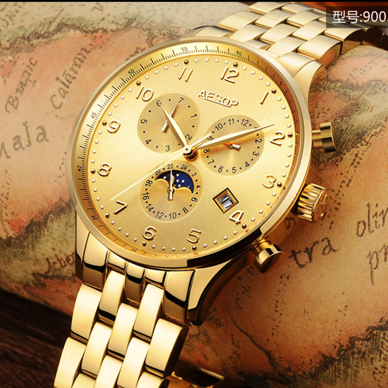 Luxury AESOP gold watch men Moon Phase sapphire silver stainless steel waterproof Automatic machine wristwatch relogio masculine luxury moon phase watch men sapphire glass stainless steel waterproof automatic machine date watch relogio masculine