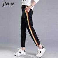 2017 Spring Fashion Casual Colorful Rainbow Side Stripe Pants Female M 2XL Loose Elastic Waist Chic