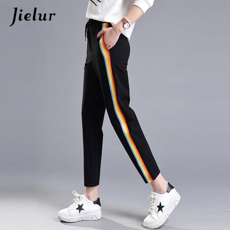 2017 Printemps Mode Casual Coloré Arc-En-Côté-bande Pantalon Femelle M-2XL Lâche Élastique Taille Chic Poches Femmes de Pantalon d'été