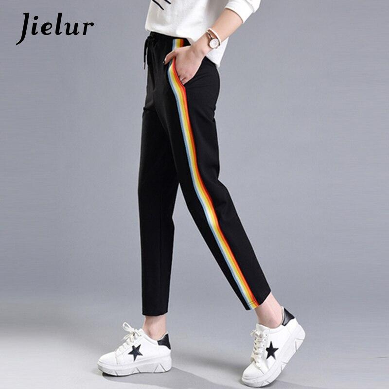 Jielur 2019 Outono Moda Casual Colorful Rainbow M-XXL Lateral-stripe Calças Femininas Solta Elástico Na Cintura Bolsos das Mulheres Chiques calças