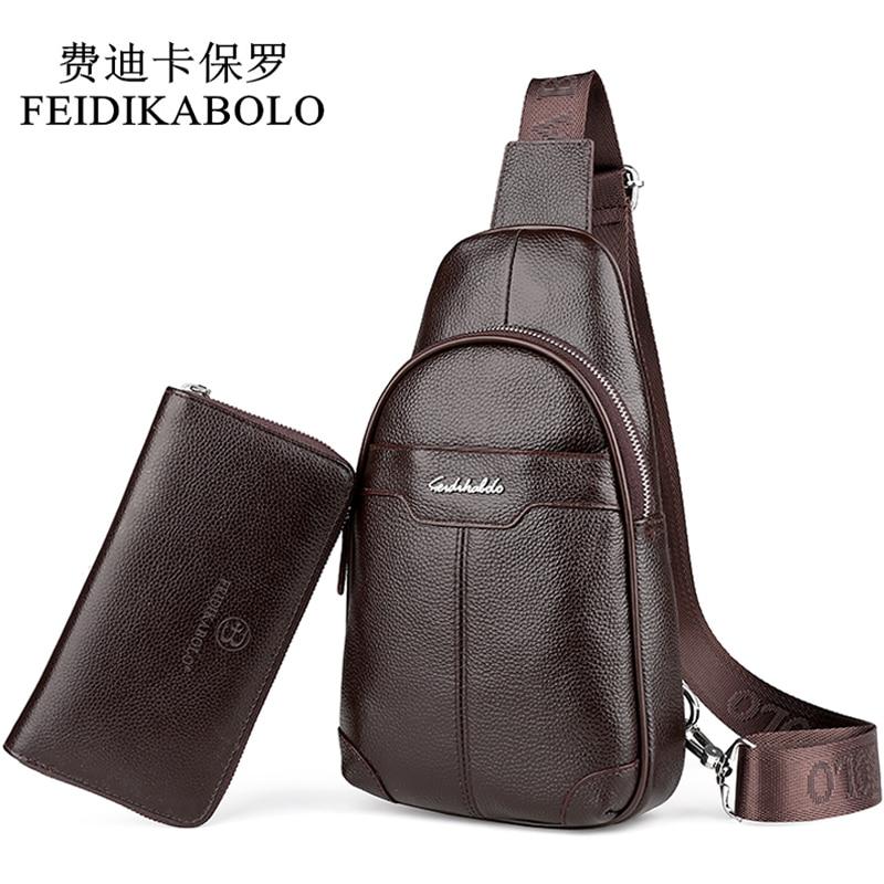 FEIDIKABOLO Fashion Cowhide Chest Pack Genuine Leather Mens Messenger Bag Male Crossbody Mobile Bags Brand Men's Shoulder Bag