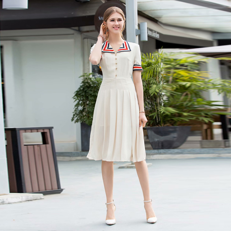 Vintage Wedding Dresses Kingston: Pleated Runway Designer High Quality 2019 Summer New Women